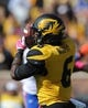 Oct 19, 2013; Columbia, MO, USA; Missouri Tigers running back Marcus Murphy (6) catches a pass during the second half of the game against the Florida Gators at Faurot Field. Missouri won 36-17. Mandatory Credit: Denny Medley-USA TODAY Sports
