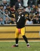 Oct 20, 2013; Pittsburgh, PA, USA; Pittsburgh Steelers quarterback Ben Roethlisberger (7) throws a pass against the Baltimore Ravens during the second half at Heinz Field. The Steelers won the game, 19-16. Mandatory Credit: Jason Bridge-USA TODAY Sports