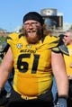 Oct 19, 2013; Columbia, MO, USA; Missouri Tigers offensive linesman Max Copeland (61) leaves the field after the game against the Florida Gators at Faurot Field. Missouri won 36-17. Mandatory Credit: Denny Medley-USA TODAY Sports