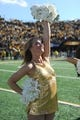 Oct 19, 2013; Columbia, MO, USA; A Missouri Tigers golden girl cheers the team after the game against the Florida Gators at Faurot Field. Missouri won 36-17. Mandatory Credit: Denny Medley-USA TODAY Sports