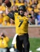 Oct 19, 2013; Columbia, MO, USA; Missouri Tigers quarterback Maty Mauk (7) throws a pass during the second half of the game against the Florida Gators at Faurot Field. Missouri won 36-17. Mandatory Credit: Denny Medley-USA TODAY Sports