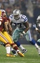 Oct 13, 2013; Arlington, TX, USA; Dallas Cowboys tackle Tyron Smith (77) in action against the Washington Redskins at AT&T Stadium. Mandatory Credit: Matthew Emmons-USA TODAY Sports