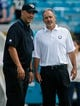 Sep 29, 2013; Jacksonville, FL, USA; Jacksonville Jaguars head coach Gus Bradley listens to Indianapolis Colts head coach Chuck Pagano before the start of their game at EverBank Field. The Indianapolis Colts beat the Jacksonville Jaguars 37-3. Mandatory Credit: Phil Sears-USA TODAY Sports