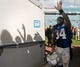 Sep 29, 2013; Jacksonville, FL, USA; Indianapolis Colts running back Trent Richardson (34) waves to fans after their game against the Jacksonville Jaguars at EverBank Field. The Indianapolis Colts beat the Jacksonville Jaguars 37-3. Mandatory Credit: Phil Sears-USA TODAY Sports