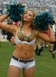 Sep 29, 2013; Jacksonville, FL, USA; A Jacksonville Jaguars cheerleader performs in the second quarter of their game against the Indianapolis Colts at EverBank Field. The Indianapolis Colts beat the Jacksonville Jaguars 37-3. Mandatory Credit: Phil Sears-USA TODAY Sports