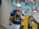 Sep 29, 2013; Jacksonville, FL, USA; Indianapolis Colts quarterback Andrew Luck (12) looks for a receiver in the second quarter of their game against the Jacksonville Jaguars at EverBank Field. The Indianapolis Colts beat the Jacksonville Jaguars 37-3. Mandatory Credit: Phil Sears-USA TODAY Sports