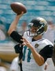 Sep 29, 2013; Jacksonville, FL, USA; Jacksonville Jaguars quarterback Blaine Gabbert (11) throws before the start of their game against the Indianapolis Colts at EverBank Field. The Indianapolis Colts beat the Jacksonville Jaguars 37-3. Mandatory Credit: Phil Sears-USA TODAY Sports