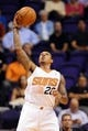 Oct 22, 2013; Phoenix, AZ, USA;Phoenix Suns guard Shannon Brown (26) handles the ball against the Oklahoma City Thunder in the first half at US Airways Center. The Suns defeated the Thunder 88 to 76. Mandatory Credit: Jennifer Stewart-USA TODAY Sports