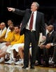 Oct 22, 2013; Los Angeles, CA, USA;  Los Angeles Laker head coach Mike D'Antoni signals to his team during the second half against the Utah Jazz at Staples Center. Mandatory Credit: Robert Hanashiro-USA TODAY Sports