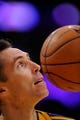 Oct 22, 2013; Los Angeles, CA, USA; Los Angeles Lakers point guard Steve Nash (10) during pre-game warmups before the Lakers' game against the Utah Jazz at Staples Center. Mandatory Credit: Robert Hanashiro-USA TODAY Sports