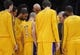 Oct 22, 2013; Los Angeles, CA, USA;  Los Angeles Laker head coach Mike D'Antoni talks to his team before tipoff against the Utah Jazz at Staples Center. Mandatory Credit: Robert Hanashiro-USA TODAY Sports