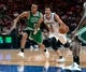 Oct 20, 2013; Montreal, Quebec, CAN; Boston Celtics guard Avery Bradley (0) defends against Minnesota Timberwolves guard Ricky Rubio (9) during the second quarter at the Bell Centre. Mandatory Credit: Eric Bolte-USA TODAY Sports