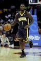 Oct 19, 2013; Cleveland, OH, USA; Indiana Pacers guard Lance Stephenson (1) during the game against the Cleveland Cavaliers at Quicken Loans Arena. The Pacers beat the Cavaliers 102-79. Mandatory Credit: Ken Blaze-USA TODAY Sports