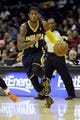 Oct 19, 2013; Cleveland, OH, USA; Indiana Pacers guard Paul George (24) during the game against the Cleveland Cavaliers at Quicken Loans Arena. The Pacers beat the Cavaliers 102-79. Mandatory Credit: Ken Blaze-USA TODAY Sports