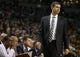 Oct 23, 2013; Boston, MA, USA; Boston Celtics head coach Brad Stevens watches from the sideline as they take on the Brooklyn Nets during the second quarter at TD Garden. Mandatory Credit: David Butler II-USA TODAY Sports