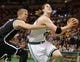 Oct 23, 2013; Boston, MA, USA; Boston Celtics forward Kelly Olynyk (41) drives the ball to the basket past Brooklyn Nets power forward Mason Plumlee (1) during the second half at TD Garden. The Celtics defeated the Brooklyn Nets 101-97. Mandatory Credit: David Butler II-USA TODAY Sports