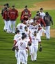 Oct 23, 2013; Boston, MA, USA; Boston Red Sox players celebrate on the field after game one of the MLB baseball World Series against the St. Louis Cardinals at Fenway Park. Mandatory Credit: Bob DeChiara-USA TODAY Sports