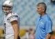 Oct 20, 2013; Jacksonville, FL, USA; (Editors note: Caption correction) San Diego Chargers quarterback Philip Rivers (17) and quarterbacks coach Frank Reich before the start of their game against the Jacksonville Jaguars at EverBank Field. Mandatory Credit: Phil Sears-USA TODAY Sports