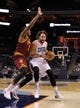 Oct 24, 2013; Charlotte, NC, USA; Charlotte Bobcats forward Josh McRoberts (11) drives past Cleveland Cavaliers guard forward Carrick Felix (30) during the game at Time Warner Cable Arena. The Bobcats won 102-95. Mandatory Credit: Sam Sharpe-USA TODAY Sports