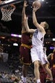 Oct 24, 2013; Charlotte, NC, USA; Charlotte Bobcats forward Cody Zeller (40) drives to the basket as he is defended by Cleveland Cavaliers forward center Tristan Thompson (13) during the game at Time Warner Cable Arena. Bobcats win 102-95. Mandatory Credit: Sam Sharpe-USA TODAY Sports