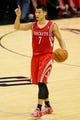 Oct 24, 2013; San Antonio, TX, USA; Houston Rockets guard Jeremy Lin (7) calls a play during the second half against the San Antonio Spurs at AT&T Center. The Rockets won 109-92. Mandatory Credit: Soobum Im-USA TODAY Sports