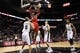 Oct 24, 2013; San Antonio, TX, USA; Houston Rockets center Dwight Howard (12) dunks during the second half against the San Antonio Spurs at AT&T Center. The Rockets won 109-92. Mandatory Credit: Soobum Im-USA TODAY Sports