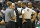Oct 25, 2013; Milwaukee, WI, USA; Milwaukee Bucks executive vice president John Steinmiller discusses the condition of the floor with referee Danny Crawford (43) during the first quarter of the game against the Toronto Raptors at BMO Harris Bradley Center. Mandatory Credit: Jeff Hanisch-USA TODAY Sports