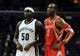 Oct 25, 2013; Memphis, TN, USA; Memphis Grizzlies power forward Zach Randolph (50) and Houston Rockets center Dwight Howard (12) talk during a timeout during the second quarter at FedExForum. The Rockets won 92-73. Mandatory Credit: Justin Ford-USA TODAY Sports
