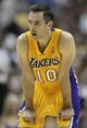 Oct 25, 2013; Anaheim, CA, USA; Los Angeles Lakers guard Steve Nash (10) during a break in play against the Utah Jazz during the third quarter at Honda Center. The Los Angeles Lakers defeated the Utah Jazz 111-106. Mandatory Credit: Kelvin Kuo-USA TODAY Sports