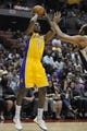 Oct 25, 2013; Anaheim, CA, USA; Los Angeles Lakers guard Nick Young (0) attempts a shot against the Utah Jazz during the third quarter at Honda Center. The Los Angeles Lakers defeated the Utah Jazz 111-106. Mandatory Credit: Kelvin Kuo-USA TODAY Sports