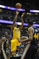 Oct 25, 2013; Anaheim, CA, USA; Los Angeles Lakers guard Wesley Johnson (11) goes up for a shot against the Utah Jazz during the fourth quarter at Honda Center. The Los Angeles Lakers defeated the Utah Jazz 111-106. Mandatory Credit: Kelvin Kuo-USA TODAY Sports