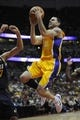 Oct 25, 2013; Anaheim, CA, USA; Los Angeles Lakers guard Jordan Farmar (1) goes up for a shot against the Utah Jazz during the fourth quarter at Honda Center. The Los Angeles Lakers defeated the Utah Jazz 111-106. Mandatory Credit: Kelvin Kuo-USA TODAY Sports