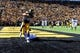 Oct 26, 2013; Iowa City, IA, USA; Iowa Hawkeyes tight end C.J. Fiedorowicz (86) makes an 8-yard touchdown reception as Northwestern Wildcats safety Traveon Henry (10) defends in overtime at Kinnick Stadium. Iowa won 17-10. Mandatory Credit: Byron Hetzler-USA TODAY Sports