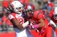 Oct 26, 2013; Piscataway, NJ, USA; Rutgers Scarlet Knights wide receiver Ruhann Peele (80) is tackled by Houston Cougars defensive back Trevon Stewart (23) during the second half at High Point Solutions Stadium. Houston defeated Rutgers 49-14.  Mandatory Credit: Ed Mulholland-USA TODAY Sports