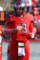 Oct 26, 2013; Piscataway, NJ, USA; Rutgers Scarlet Knights quarterback Chas Dodd (19) runs onto the field during the second half of their game against the Houston Cougars at High Point Solutions Stadium. Houston defeated Rutgers 49-14.  Mandatory Credit: Ed Mulholland-USA TODAY Sports