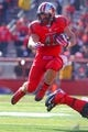 Oct 26, 2013; Piscataway, NJ, USA; Rutgers Scarlet Knights fullback Michael Burton (46) runs with the ball during the first half of their game against the Houston Cougars at High Point Solutions Stadium. Mandatory Credit: Ed Mulholland-USA TODAY Sports