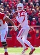 Oct 26, 2013; Piscataway, NJ, USA; Houston Cougars quarterback John O'Korn (5) looks to pass during the first half at High Point Solutions Stadium. Mandatory Credit: Ed Mulholland-USA TODAY Sports