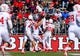 Oct 26, 2013; Piscataway, NJ, USA; Houston Cougars wide receiver Deontay Greenberry (3) celebrates his touchdown during the first half of their game against the Rutgers Scarlet Knights at High Point Solutions Stadium. Mandatory Credit: Ed Mulholland-USA TODAY Sports