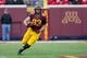 Oct 26, 2013; Minneapolis, MN, USA; Minnesota Golden Gophers tight end Drew Goodger (83) runs with the ball after making a catch in the second half against the Nebraska Cornhuskers at TCF Bank Stadium. The Gophers won 34-23. Mandatory Credit: Jesse Johnson-USA TODAY Sports