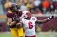 Oct 26, 2013; Minneapolis, MN, USA; Minnesota Golden Gophers wide receiver Derrick Engel (18) attempts to make a catch over Nebraska Cornhuskers safety Corey Cooper (6) in the second half at TCF Bank Stadium. The Gophers won 34-23. Mandatory Credit: Jesse Johnson-USA TODAY Sports