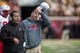 Oct 26, 2013; Minneapolis, MN, USA; Nebraska Cornhuskers head coach Bo Pelini takes his hat off and looks on during the second half against the Minnesota Golden Gophers at TCF Bank Stadium. The Gophers won 34-23. Mandatory Credit: Jesse Johnson-USA TODAY Sports