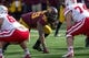 Oct 26, 2013; Minneapolis, MN, USA; Minnesota Golden Gophers defensive lineman Ra'Shede Hageman (99) gets ready before a snap in the second half against the Nebraska Cornhuskers at TCF Bank Stadium. The Gophers won 34-23. Mandatory Credit: Jesse Johnson-USA TODAY Sports