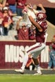 Oct 26, 2013; College Station, TX, USA; Texas A&M Aggies defensive back Howard Matthews (31) celebrates returning an interception for a touchdown against the Vanderbilt Commodores during the second half at Kyle Field. Texas A&M won 56-24. Mandatory Credit: Thomas Campbell-USA TODAY Sports