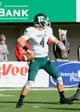 Oct 26, 2013; DeKalb, IL, USA; Eastern Michigan Eagles quarterback Brogan Roback (4) drops back to pass against the Northern Illinois Huskies during the first half at Huskie Stadium. Mandatory Credit: Mike DiNovo-USA TODAY Sports