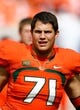 Oct 26, 2013; Miami Gardens, FL, USA; Miami Hurricanes defensive lineman Anthony Chickillo (71) before a game against the Wake Forest Demon Deacons at Sun Life Stadium. Mandatory Credit: Robert Mayer-USA TODAY Sports