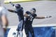 Oct 26, 2013; Houston, TX, USA; Rice Owls wide receiver Jordan Taylor (15) and wide receiver Dennis Parks (4) celebrate after Taylor scores a touchdown during the second quarter against the UTEP Miners at Rice Stadium. Mandatory Credit: Troy Taormina-USA TODAY Sports