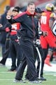 Oct 26, 2013; College Park, MD, USA; Maryland Terrapins head coach Randy Edsall argues the lack of a pass interference call against the Clemson Tigers at Byrd Stadium. Mandatory Credit: Mitch Stringer-USA TODAY Sports