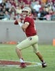 Oct 26, 2013; Tallahassee, FL, USA; Florida State Seminoles quarterback Jacob Coker (14) looks to throw the ball during the game against the North Carolina State Wolfpack at Doak Campbell Stadium. Mandatory Credit: Melina Vastola-USA TODAY Sports