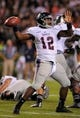 Oct 26, 2013; Auburn, AL, USA; Florida Atlantic Owls quarterback Jaquez Johnson (12) passes the ball during the first half against the Auburn Tigers at Jordan Hare Stadium. Mandatory Credit: Shanna Lockwood-USA TODAY Sports