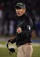 Oct 26, 2013; Lawrence, KS, USA; Baylor Bears head coach Art Briles stands on the sidelines against the Kansas Jayhawks in the first half at Memorial Stadium. Mandatory Credit: John Rieger-USA TODAY Sports
